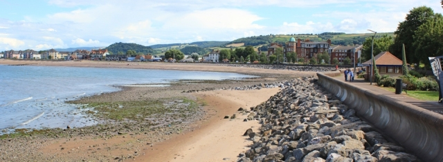 promenade into Minehead, Ruth at the end of the SW Coast Path