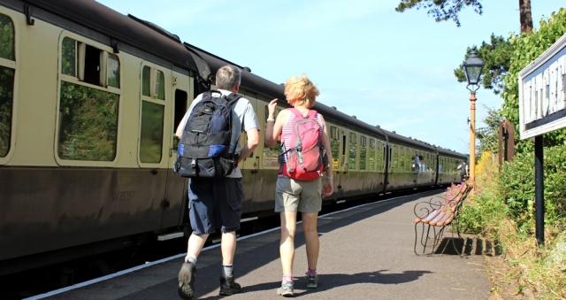 all aboard steam train, Ruth in Watchet, coastal walking