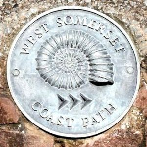 Somerset Coast Path, marker in wall