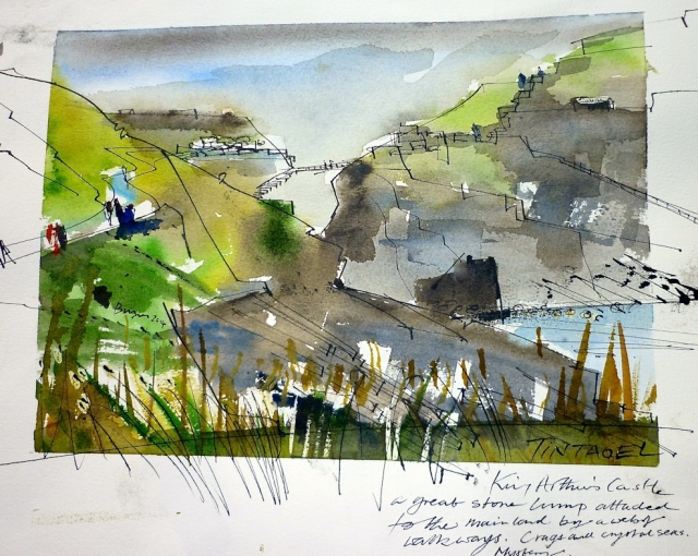 Tintagel, painting by Tim Baynes