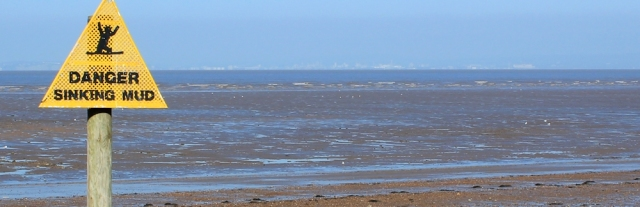 Wales across the mud, from Kewstoke beach, Somerset