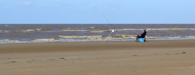 fishermen, Brean sands, Ruth walking the Somerset coastline