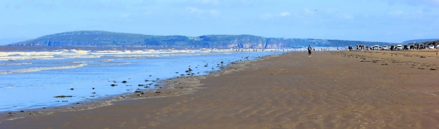 heading to Brean, Ruth walking the coast, North Somerset