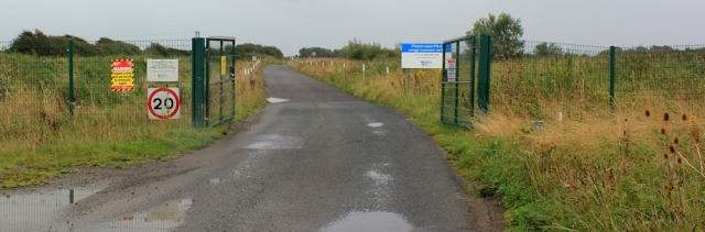 entrance to sewage works, Bleadon Level, Ruth trying to walk the coast in North Somerset