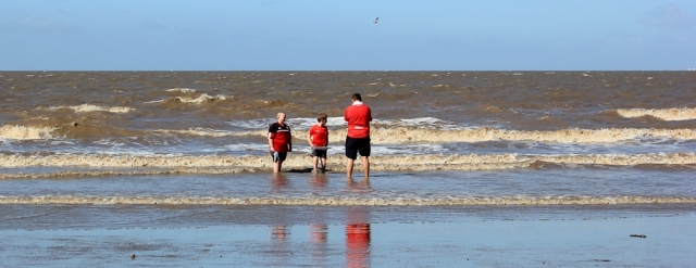 brave paddlers, Brean beach, Ruth's coastal walk in Somerset