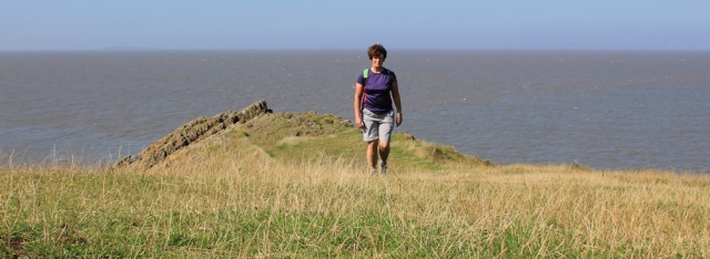 self portrait, walking back from Sand Point, Ruth on Middle Hope, Somerset