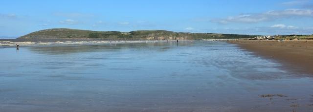 Brean Down getting nearer, Ruth walking the coast