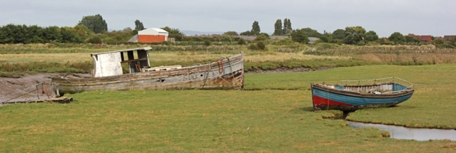 more old boats, Ruth walking the coastal route of Somerset