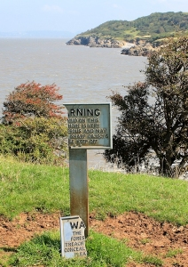 warning signs, Middle Hope, Ruth walking the Somerset coast