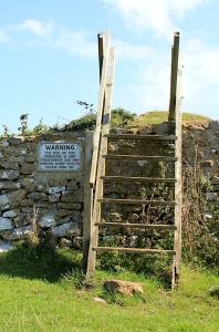 warning sign Middle Hope, Ruth Livingstone's coastal walk