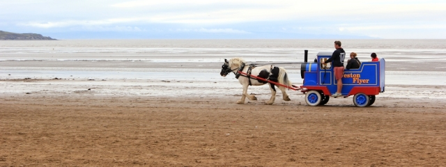 horse pulling a train, Weston super Mare, Ruth's coastal wlk