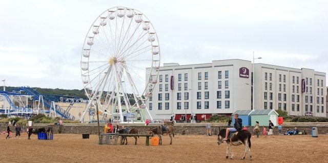 big wheel, Ruth Livingstone walking through Weston Super Mare