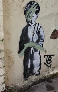 Banksy graffiti, wall in Weston Super Mare, Ruth's coastal walk