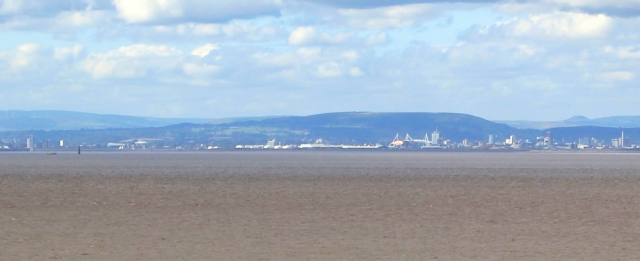 Wales in the distance, Ruth walking in Weston super Mare