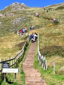 steps up to Brean Down, Ruth walking the Somerset coast