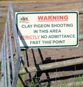 Clay Pigeon warning sign, River Axe