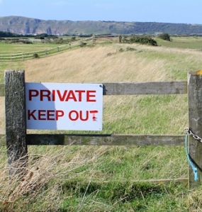 Private Keep Out signs, River Axe bank
