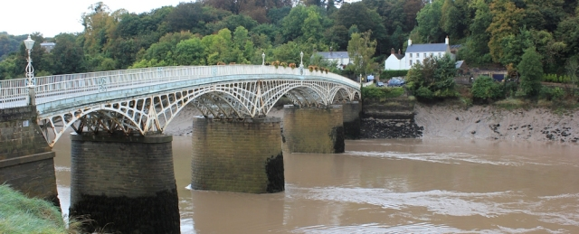 old Wye Bridge, Chepstow, Ruth walking the coast path