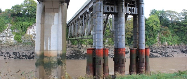 under the Brunel pillars, railway bridge, Chepstow, Ruth Livingstone