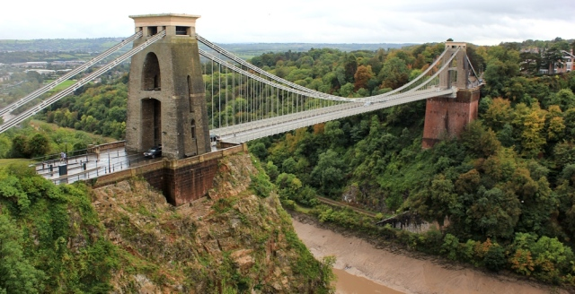 Clifton Suspension Bridge, Ruth walking in Bristol