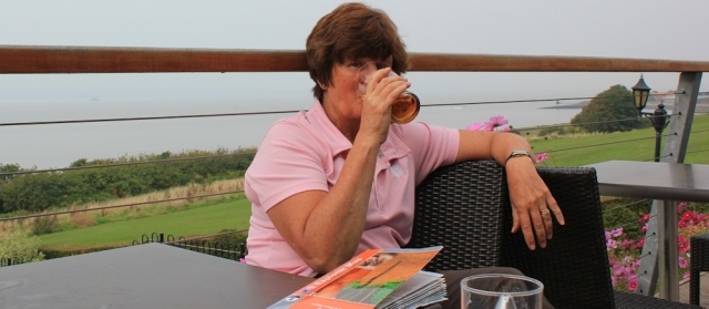 24 Ruth drinking a pint of cider, Portishead