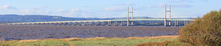 header, second Severn Bridge, Ruth walking the coast