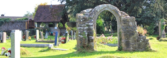 b01 back of St Tewdric's Church, Mathern, Ruth walking the coast in Wales