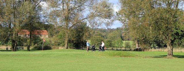 b03 over a golf course, Ruth walking the Wales Coast Path, near Mathern