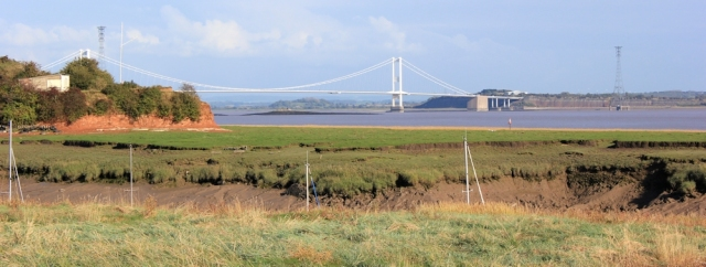 b07 First Severn Bridge, from St Pierre's Pill, Ruth walking the Wales Coast Path