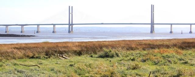 b08 Second Severn Bridge, Ruth walking the Wales Coast Path