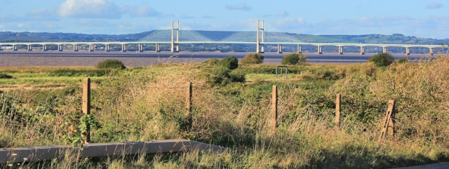 b10 first sight of Severn Bridge, Ruth walking the coast of the UK