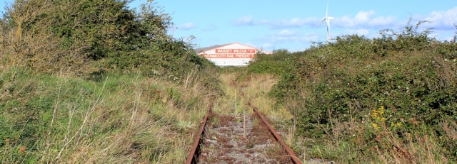 b12 railway line going nowhere, Ruth walking up the Severn Estuary