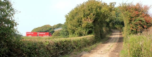 b13 farmer's bridge over M5, Ruth walking in North Somerset