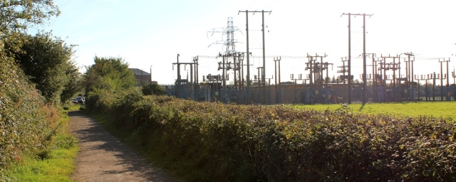b14 past electricity station, into Sudbrook, Ruth on Wales Coast Path