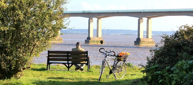 b15 Sudbrook Point and Second Severn Crossing. Ruth walking the Wales Coast Path