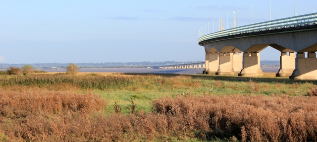 b16 approaching the Second Severn Crossing, along the Wales Coast Path
