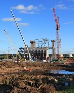 work going on, Seabank Power Station, Ruth walking the Severn Estuary