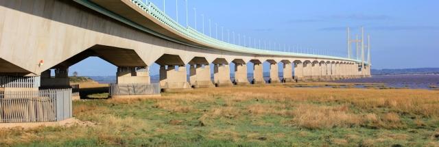 b17 going under the Severn Bridge, Ruth Livingstone on the Wales Coast Path