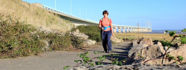 b18 self portrait with Second Severn Crossing, Ruth on Wales Coast Path
