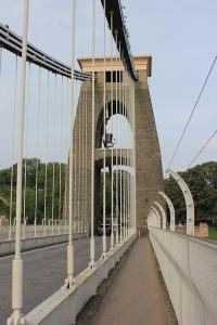 Clifton Bridge pillar, Ruth walking in Bristol