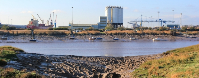industrial docks on other side River Usk, Ruth's coast walk