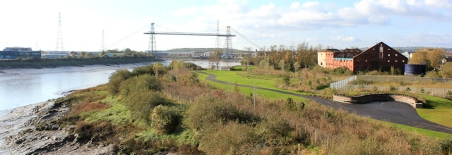 view from A48 bridge, Transporter Bridge, Ruth walking through Newport, Wales