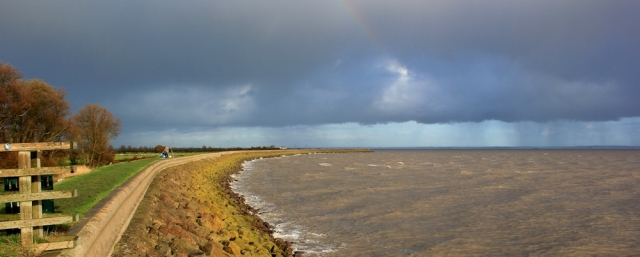 storm passing up the Severn Estuary, Ruth on the Wales Coast Path