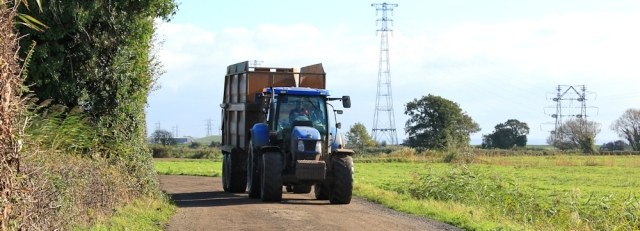 tractor on track, Ruth somewhere south of Newport, Wales Coast Path