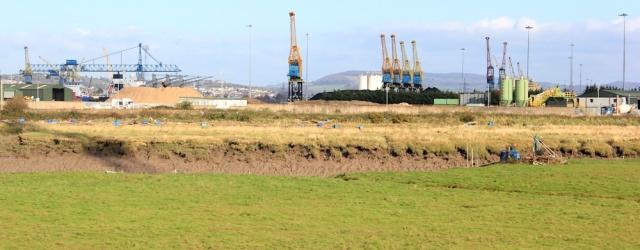 Newport Docks, Ruth walking the coast path