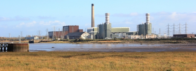 Uskmouth Power Station, Ruth walking the Wales Coast Path