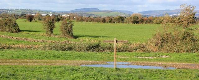 Wales Coast Path signpost, Ruth walking the coast