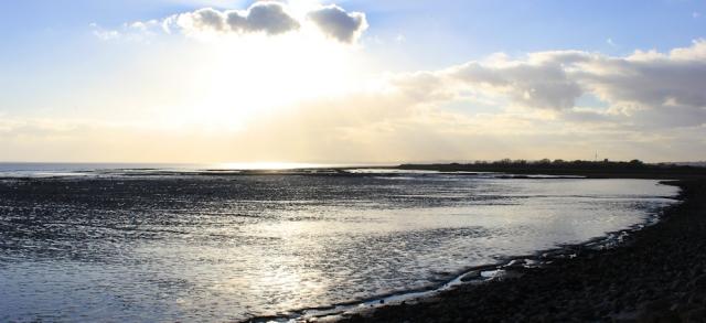 sinking sun, Peterstone Wentlooge, Ruth's coastal walk in Wales