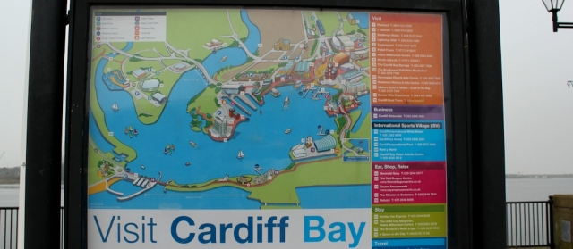 06 map of Cardiff Bay, Ruth lost again on the Wales Coast Path