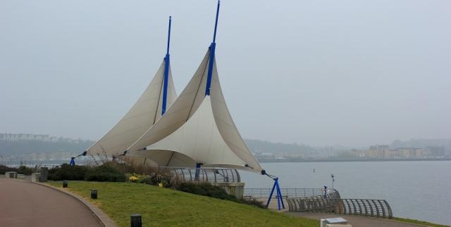b01 Cardiff Bay and sails, Ruth Livingstone